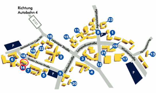 Map of the campus of the TU Bergakademie Freiberg